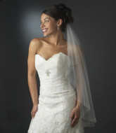 Fingertip Length Wedding Veil with Scattered Crystal and Pearl Edge