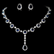 Elegant Navy Sapphire Blue Rhinestone and CZ Wedding Jewelry Set