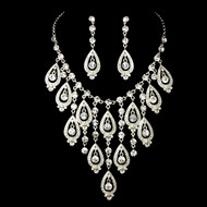 Elaborate Silver Plated Rhinestone Wedding Jewelry Set