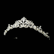 Elegant White Pearl and Rhinestone Wedding Tiara