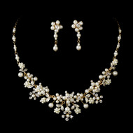 Enchanting Pearl Gold Plated Bridal Jewelry Set