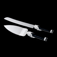 Vintage Black and White Wedding Cake Knife and Server Set