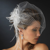 White Feather Comb and Wedding Birdcage Veil with Rhinestones - sale!