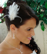 Feather Bridal Fascinator Comb With Rhinestone Spray