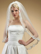 Fingertip Beaded Alencon Lace Edge Wedding Veil