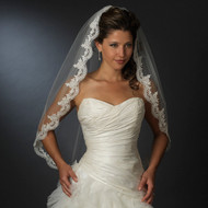 Fingertip Length Beaded Lace Wedding Veil