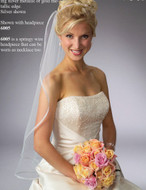 Fingertip Length Ribbon Edge Bridal Veil
