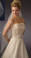 Two Layer Fingertip Length Satin Cord Edge Bridal Veil