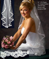 JL Johnson Fingertip Length Bridal Veil with Alencon Lace
