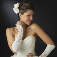 Matte Satin Fingerless Bridal Gloves - White and Ivory