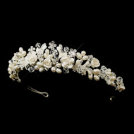 Flower and Freshwater Pearl Wedding Tiara