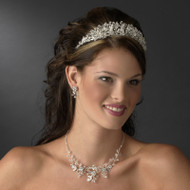 Floral Crystal Wedding Tiara and Jewelry Set