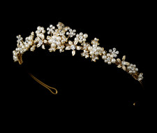 Floral Garden Gold Plated Pearl Tiara