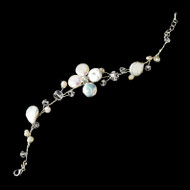 Floral Keshi Pearl and Crystal Bridal Bracelet