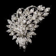 Floral Rhinestone Wedding Brooch or Hair Comb