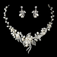 Freshwater Pearl And Crystal Wedding Jewelry Set -sale!