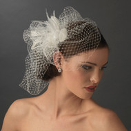 French Net Veil and Feather Bridal Headpiece