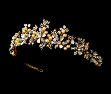 Gold Plated Rum Freshwater Pearl Floral Wedding Tiara - sale!