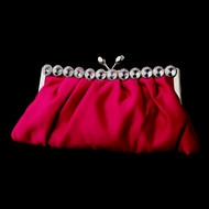 Fuchsia Evening Bag Clutch Purse with Crystal Trim