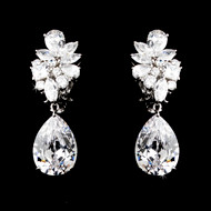 Glamorous Cubic Zirconia Clip On or Pierced Wedding Earrings