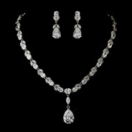 Glamorous Cubic Zirconia Pendant Wedding Jewelry Set