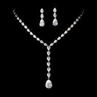 Glistening Cubic Zirconia Wedding Necklace and Earring Set