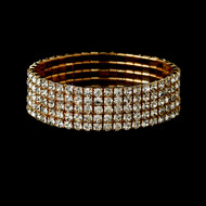 Gold 5 Row Rhinestone Stretch Bridal and Prom Bracelet