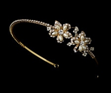 Gold and Ivory Pearl Bridal Rhinestone Headband