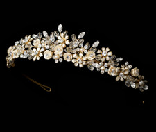Gold Plated Champagne Porcelain Flower Bouquet Tiara