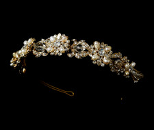 Gold Freshwater Pearl and Crystal Bridal Headband Tiara