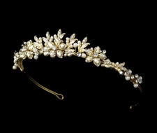 Gold and Ivory Floral Wedding Tiara