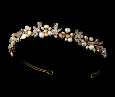 Gold Plated Keshi and Rum Pink Pearl Tiara Headband