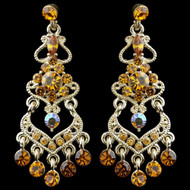 Gold Topaz and AB Rhinestone Chandelier Bridal Earrings
