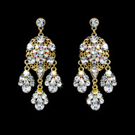 Gold Plated Clear and AB Crystal Chandelier Bridal Earrings
