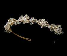 Gold Plated Crystal Bridal Headband Tiara