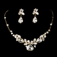 Gold Plated Crystal Bridal Jewelry Set