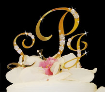 Gold Plated Crystal Monogram Cake Topper