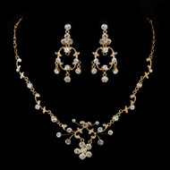 Gold Plated Dainty Floral Vine Wedding Jewelry Set