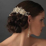 Gold Plated Freshwater Pearl and Crystal Bridal Comb