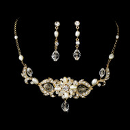 Gold Plated Freshwater Pearl and Crystal Bridal Jewelry