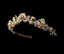 Gold Plated Freshwater Pearl and Rhinestone Bridal Tiara
