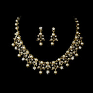 Gold Plated Ivory Pearl Weddng Jewelry Set