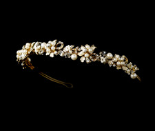 Gold Plated Ivory Pearl Floral Headband