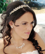 Gold Plated Keshi Pearl Tiara and Matching Jewelry Set