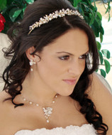 Gold Plated Keshi Pearl Tiara and Jewelry Set