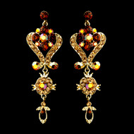 Gold Plated Multi Brown Crystal Chandelier Earrings