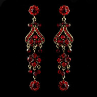Gold Plated Red Rhinestone Chandelier Earrings