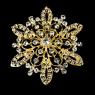 Gold Plated Rhinestone Bridal Brooch