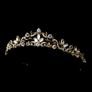 Gold Plated Scroll Rhinestone Bridal Tiara