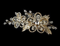 Gold Plated Crystal Side Bridal Comb